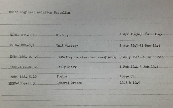 1884th ENBN (Engineering Battalion) Finding Aid