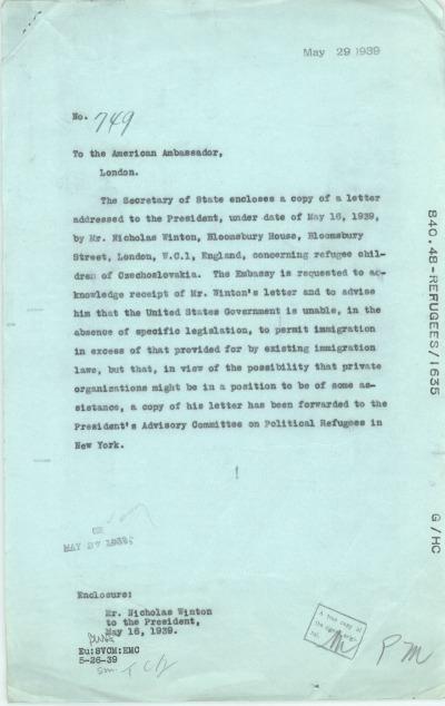 Despatch No. 749 to the American Ambassador, London