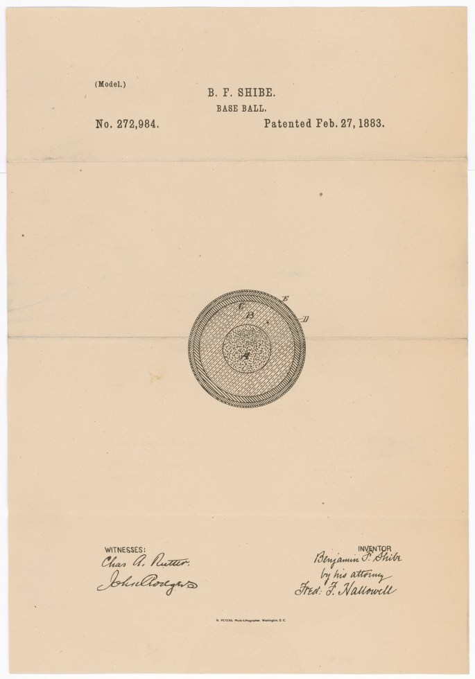 Design for a baseball By Benjamin F. Shibe, Philadelphia, Pennsylvania Patented February 27, 1883 Patent number 272,984.