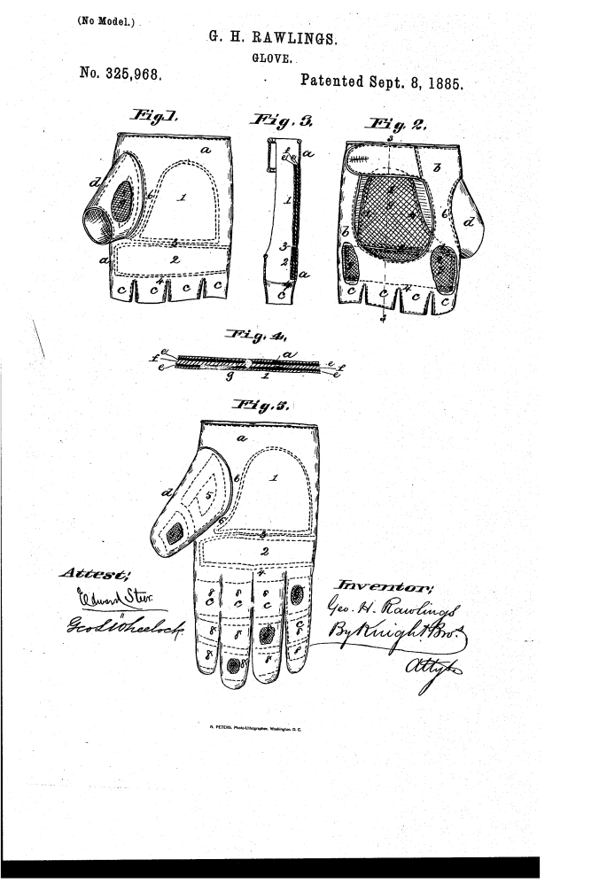 Proposed improvements to the baseball glove by George Rawlings. Patent 325,968.