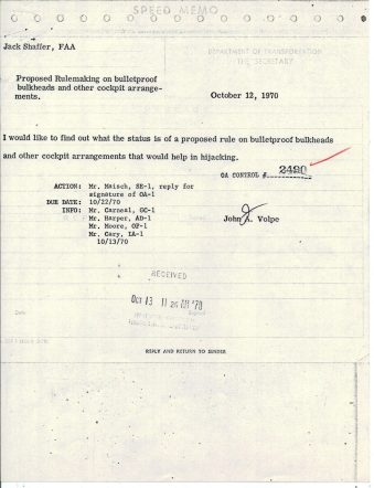 Memo from Secretary of Transportation Speed, Oct 12, 1970