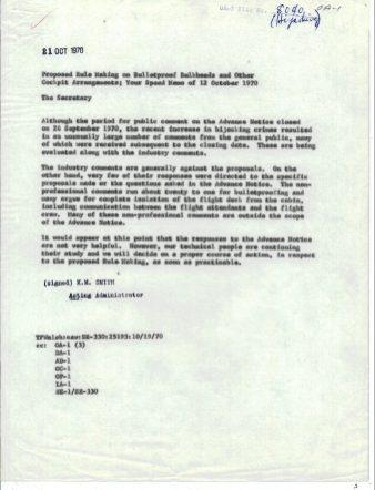 FAA Response to Speed Memo, Oct 21, 1970