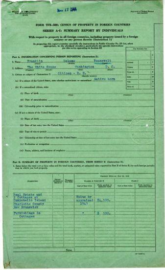 Form TFR-500 for President Franklin D. Roosevelt, Feb. 12, 1944, p.1