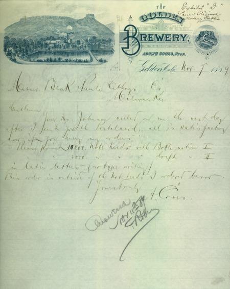 letter written on Golden Brewery stationary showing Castle Rock