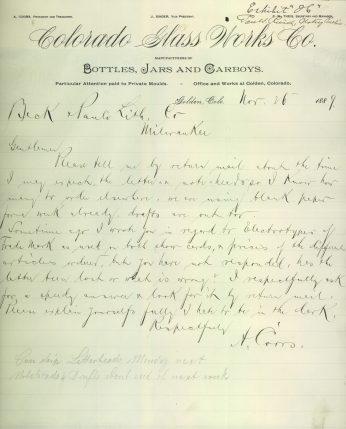 Coors letter regarding status of his order