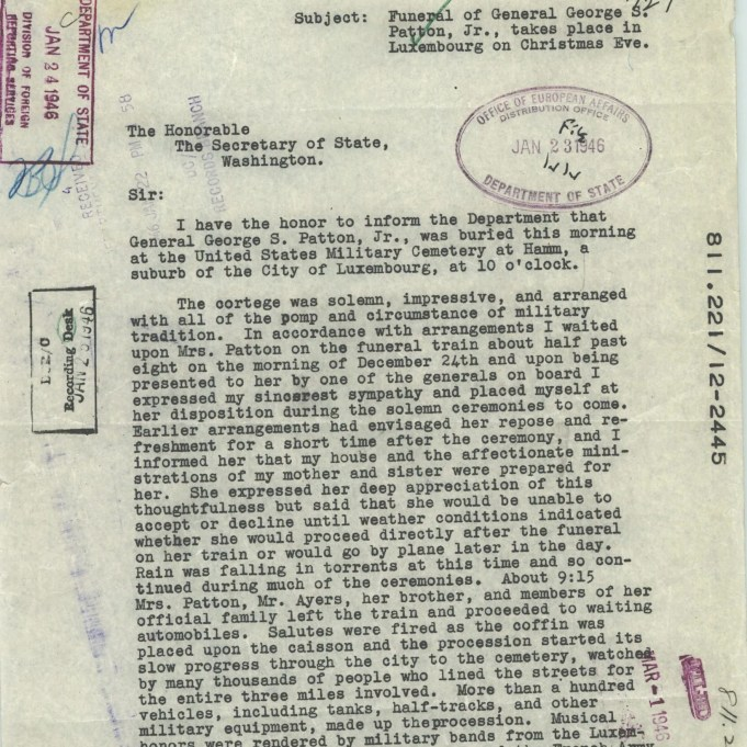 Report on the Funeral of General Patton, 12/24/1945 p1
