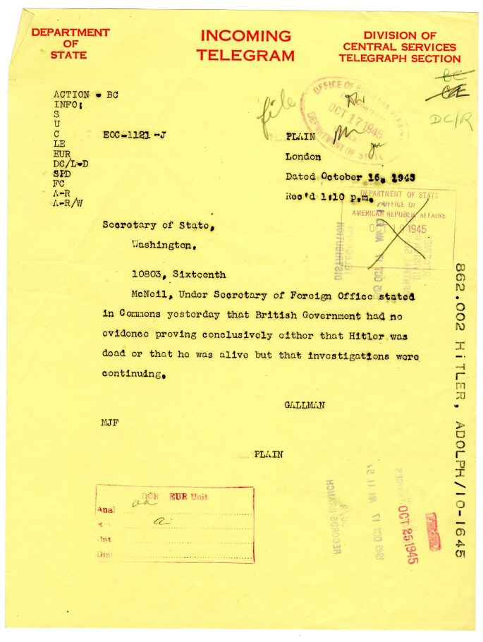 telegram sent to the Secretary of State regarding Hitler's death