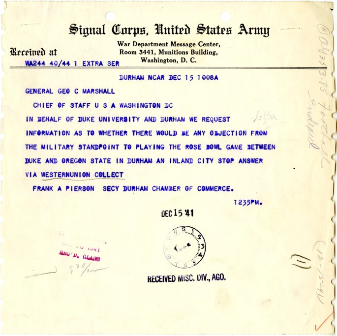 Telegram from Frank Pierson, Secy Durham Chamber of Commerce to General George C. Marshall, 12/15/1941