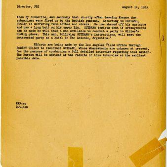 Report of Hitler in Argentina, August 1945. FBI Case File 65-53615. P.2.