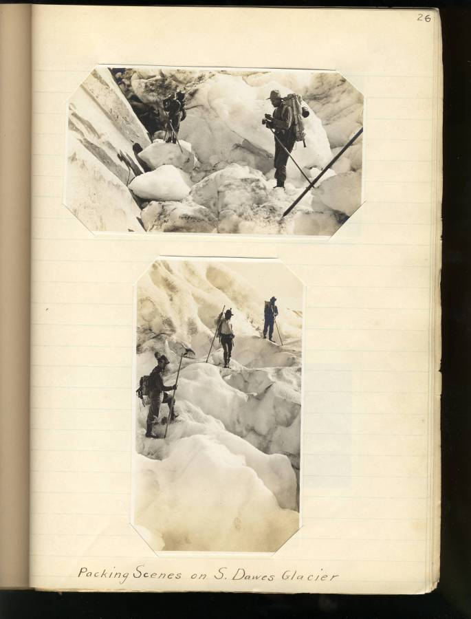 photos of a survey party on a glacier
