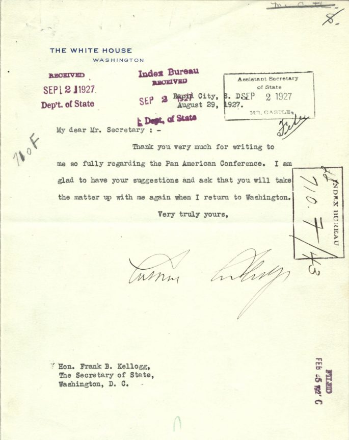 short letter thanking the Secretary of State for information about the Pan American conference