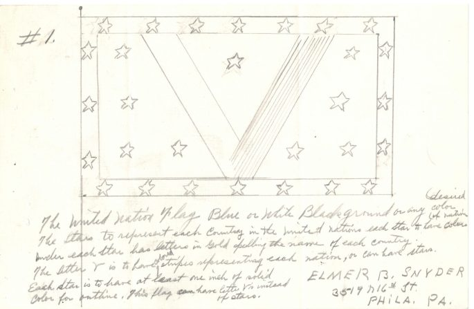 pencil drawing of a flag with a large V in the middle with stars surrounding it