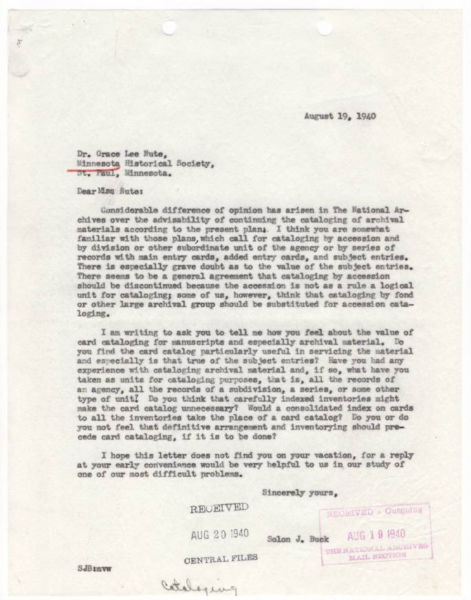 RG 64, A1 36 - file Firms, Individuals, and Orgs - Buck Letter re Catalog Problems, Aug. 1940