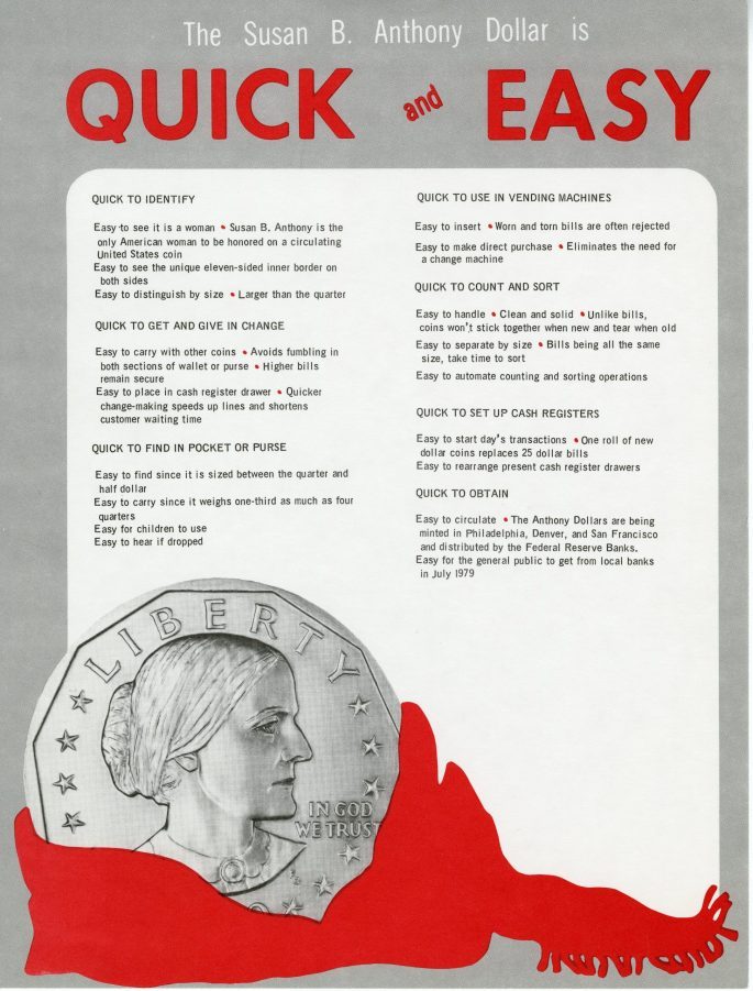 informational sheet 'The Susan B. Anthony Dollar is Quick and Easy' with a Anthony coin in the bottom left corner