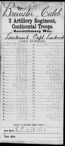 Brewster, Caleb – State: Continental Troops, Regiment: Second Regiment, Artillery, p 1.