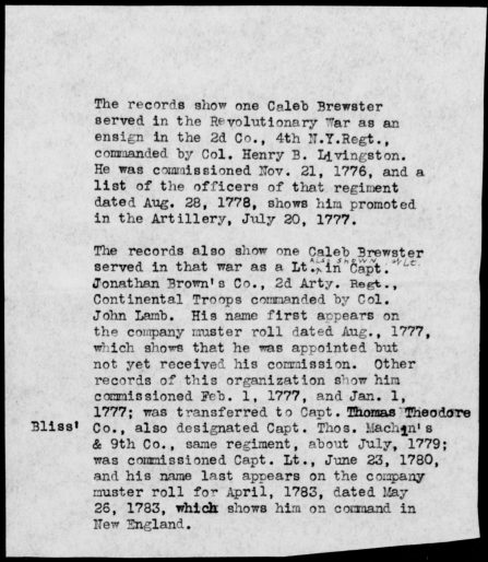 Brewster, Caleb – State: Continental Troops, Regiment: Second Regiment, Artillery, p 2.