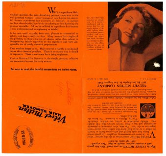 42884 - Velvet Mitten Hair Remover - T. W. Bayley, 1933