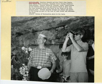 Senator Kennedy taking video at Rainbow Bridge.