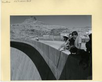 Senator Moss pointing out something to Senator Kennedy atop the Glen Canyon Dam.