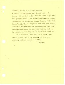 Telegram from US Ambassador to England Joseph Kennedy to the Secretary of State, May 31, 1940