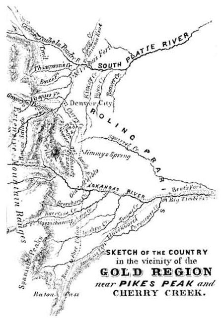 Map of the Gold Region near Pikes Peak and Cherry Creek