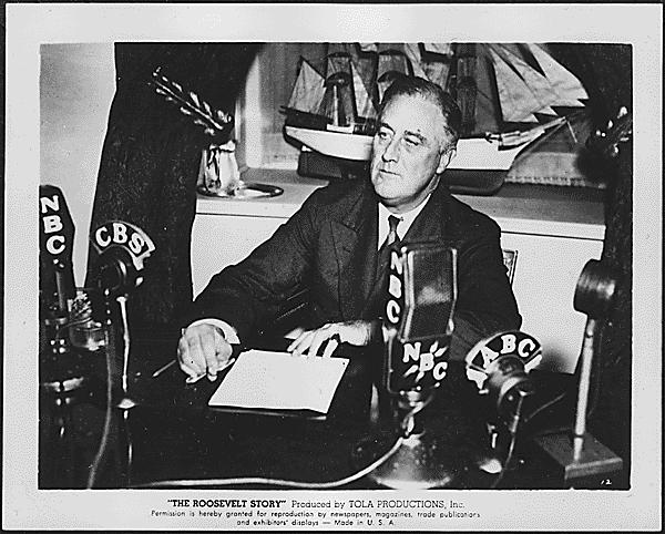 Franklin D. Roosevelt having a fireside chat in Washington, D.C
