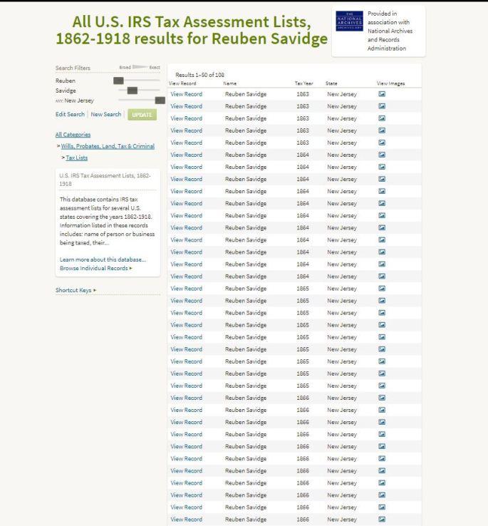 view of ancestry.com list