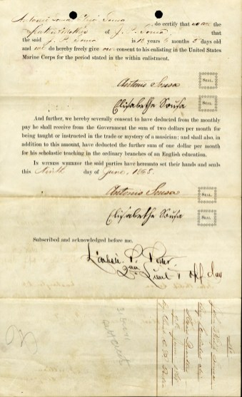 Enlistment Paper for John Philip Sousa, back