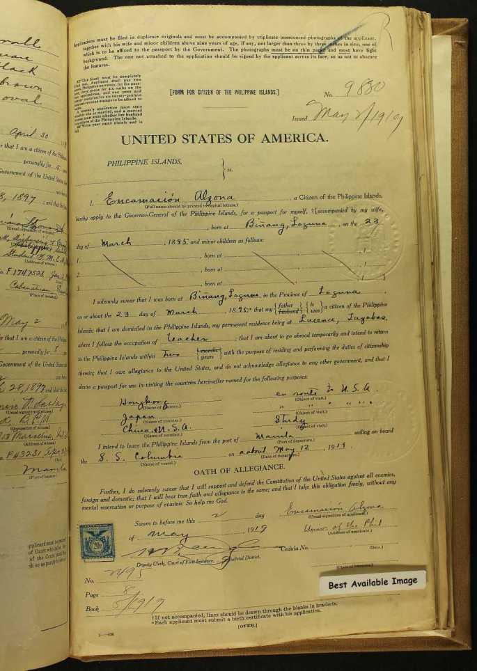 Image of Encarnacion Alzona's passport application.