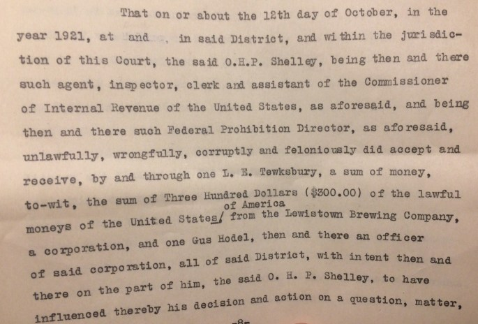 """Document excerpt from complaint detailing Hodel's involvement. """"Criminal Case Files, 1889-1961"""" NAID 298174, Box 6763"""