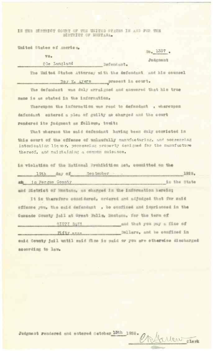 "Image of Langland conviction ""Criminal Case Files, 1924-1968"" NAID 568166, Box 41"