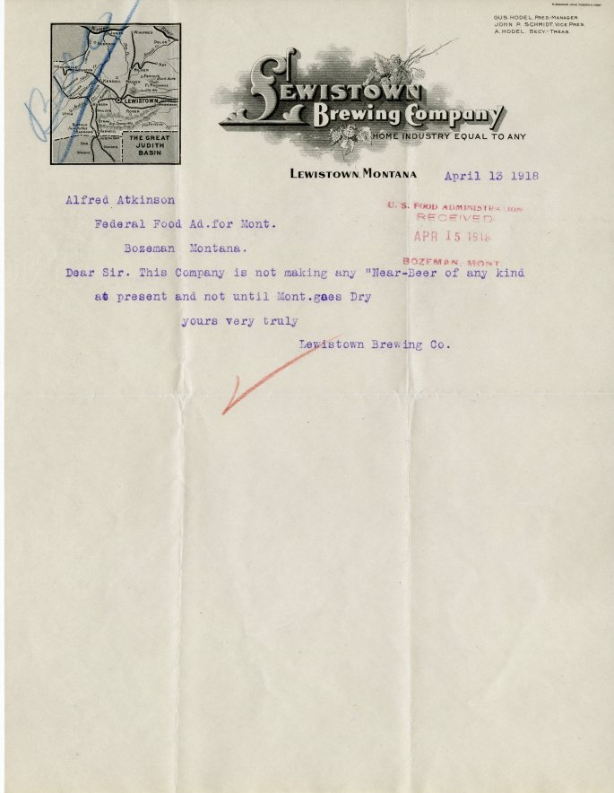 Letter from Lewistown Brewing Co. to Alfred Atkinson, April 13, 1918
