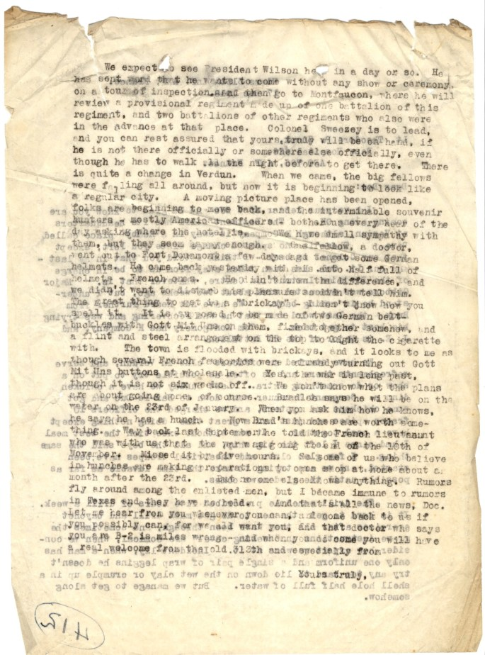 Letter to Theodore P. Snook, Dec. 17, 1918. back