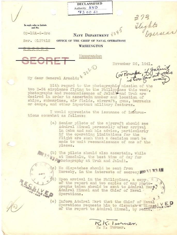 Image of memorandum from R.K. Turner to General Arnold.