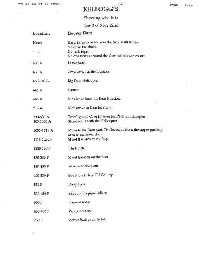1 - Kellogg_s Shooting Schedule