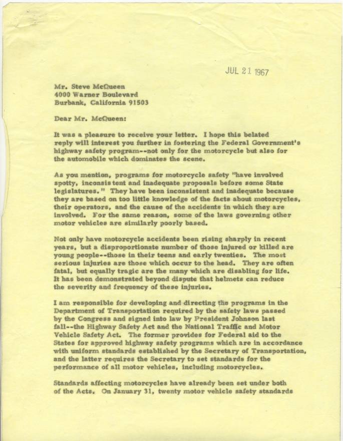 Letter from William Haddon, Jr. to Mr. Steve McQueen, July 21, 1967.