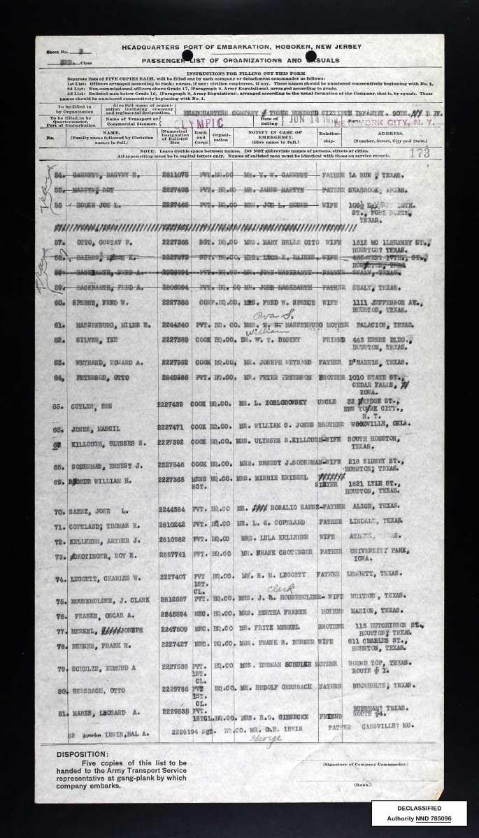 ship's passenger list