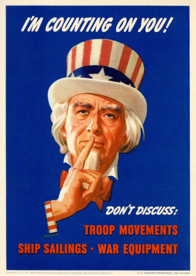 """Poster of Uncle Sam holdings his finger to his lips in a gesture of silence with the text """"I'm Counting on You! Don't Discuss: Troop Movements, Ship Sailings, War Equipment."""