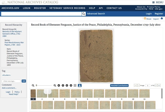 Screen shot of the entry in the National Archives Catalog.