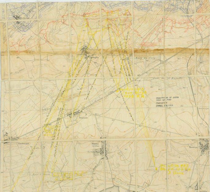 map showing position of guns around Remiere, Seicheprey, etc