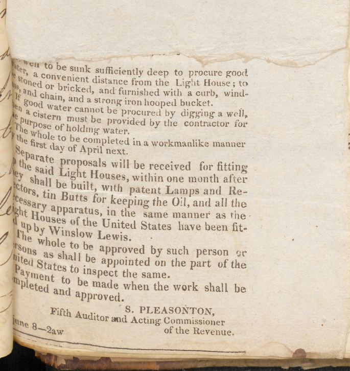Image of Advertisement for proposals, June 5, 1824.