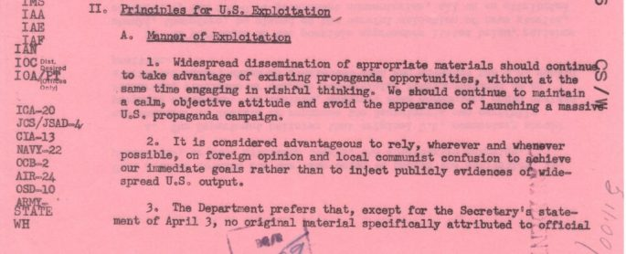 advises to project an objective attitude to the speech rather than appearing to launch a large US propaganda campaign