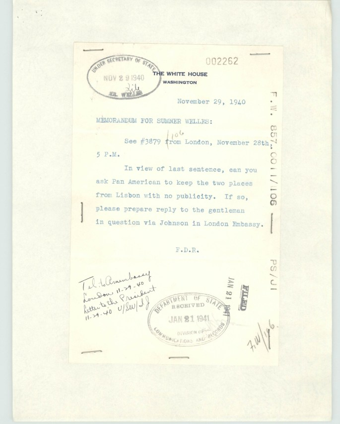 FDR relaying message to hold 2 seats on Pan Am flight for the Crown Prince, and not have it publicized