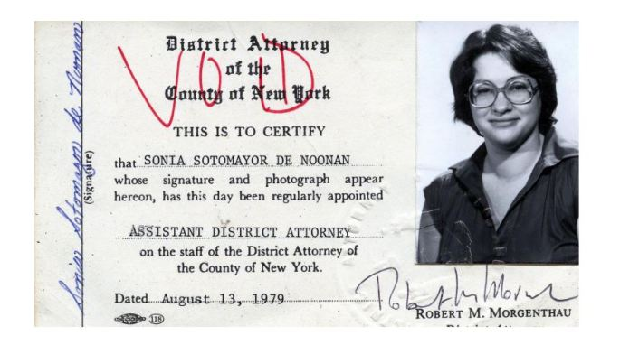 id card with picture of Sotomayor in glasses