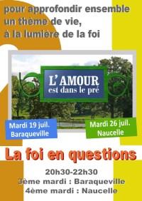 Soirée-débat : la foi en questions - L'amour est dans le pré - mardi 19 juillet 20h30-22h30