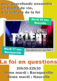 Soirée-débat, La foi en questions : La France a un incroyable talent - 17/11/2015