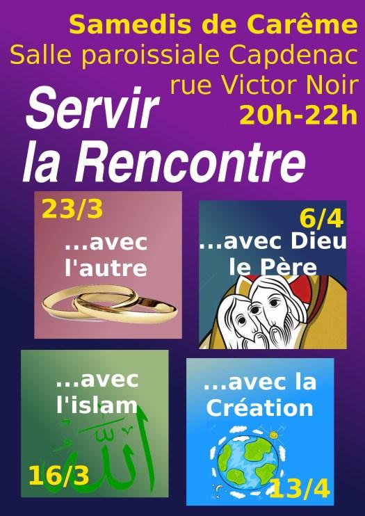 4 samedis soirs de Carême 20h-22h, pour servir la Rencontre, à la salle paroissiale de Capdenac (rue Victor Noir) : 16/3, 23/3, 6/4, 13/4