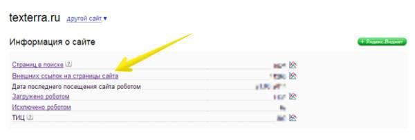 Яндекс.Вебмастер – Внешних ссылок на странице сайта – За последнюю неделю