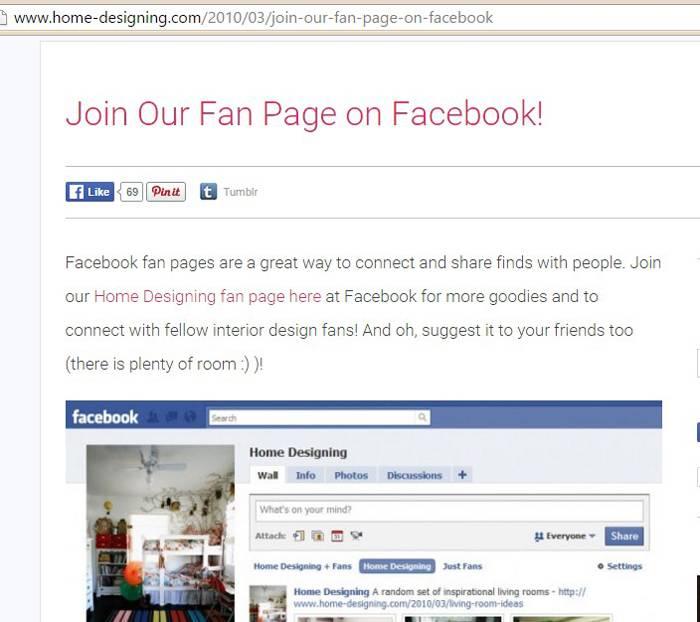 Дизайнерское бюро опубликовало в блоге призыв подписаться на страницу в Facebook