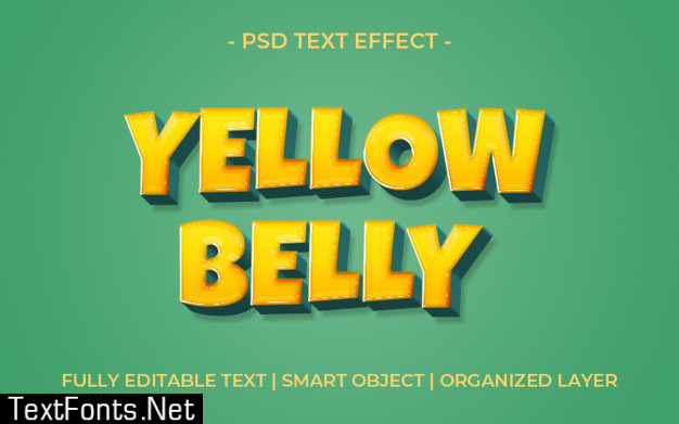 3d bold yellow belly text effect